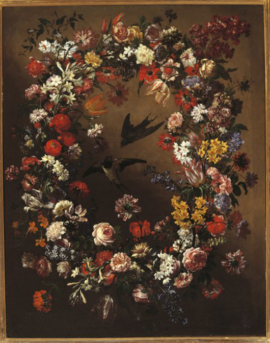 Bartolomeo Bimbi Ghirlanda di fiori con rondini 1690-1695